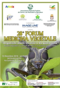 "28° Forum di medicina vegetale: ""Organismi alieni, invasivi o da quarantena"""