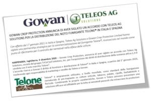 Gowan, accordo con Teleos per la distribuzione del fumigante Telone<sup>®</sup>