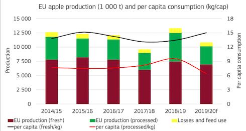 Grafico: Produzione e consumi di mele