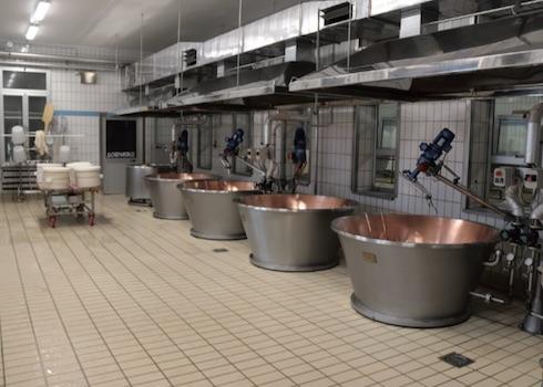 Le caldaie dove vengono prodotte le sei forme quotidiane di Parmigiano Reggiano