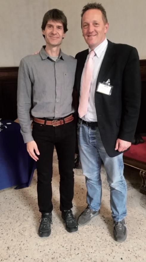 Da sinistra: Alex Bach con il presidente di Sivar Daniele Gallo. Bach è un ricercatore catalano che ha all'attivo numerose pubblicazioni scientifiche e che collabora con le migliori università americane