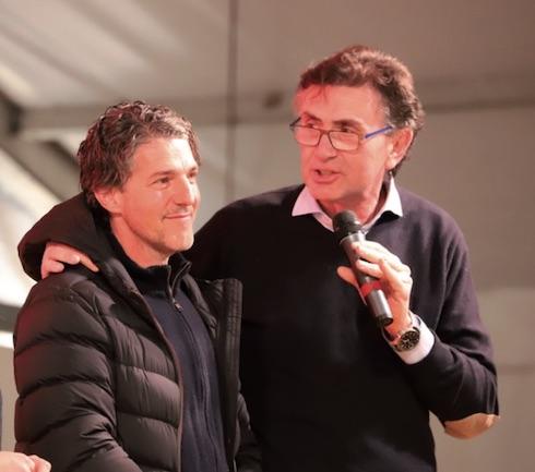 Da sinistra l'allevatore Fabio Cantù insieme a Davide Torti di Lely