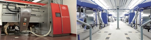 Esempi di robot di mungitura (a sinistra foto Lely; a destra foto DeLaval)