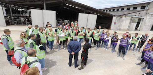Il gruppo di allevatori stranieri in visita all'allevamento della famiglia Bandioli. Al centro Renato Bandioli che con l'aiuto della veterinaria Sabrina Volo ha presentato agli ospiti l'azienda