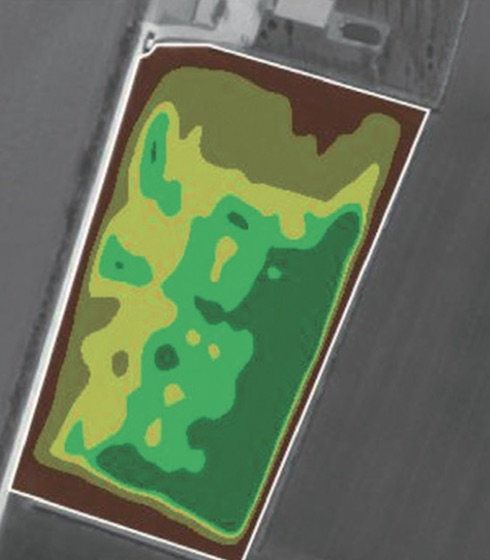 Esempio di mappa satellitare di prescrizione; ad ogni colore corrisponde una differente richiesta di liquame