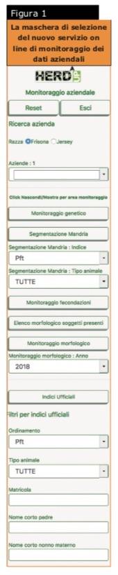 La maschera di selezione del nuovo servizio online di monitoraggio dei dati aziendali