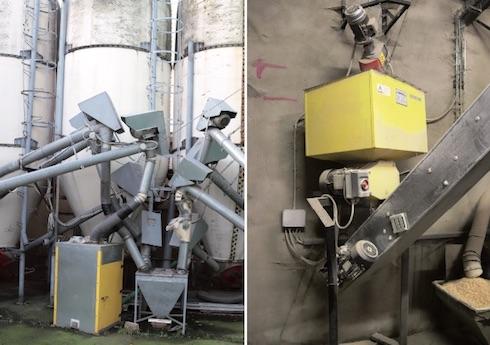 A sinistra: dal silos di stoccaggio, il cereale viene prima di tutto veicolato a una bilancia dosatrice. A destra: dopo la pesata, la granella passa alla schiacciatrice