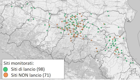 Cartina Emilia Romagna: punti di campionamento delle ovature
