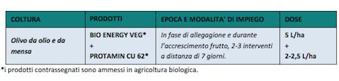 Tabella Bio Energy Veg e Protein Cu 62