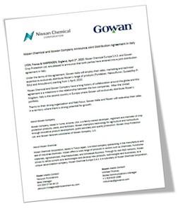 Nissan e Gowan, accordo comunicato