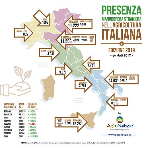 Infografica: Presenza della manodopera straniera nell'agricoltura italiana