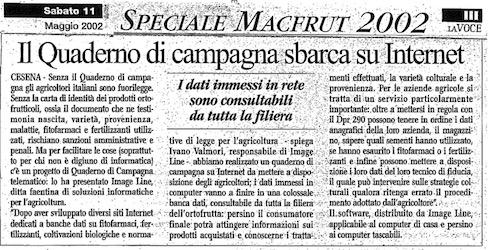 Il Quaderno di Campagna sbarca su Internet: articolo su 'La voce' 2002