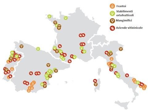 Distribuzione geografica delle aziende agroalimentari analizzate