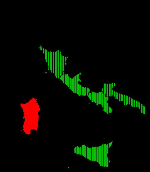 Distribuzione della Casuarina in Italia. In Sardegna non è confermata la sua presenza