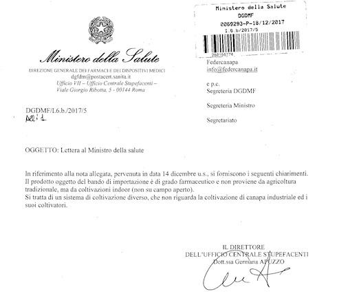 Fotocopia della risposta dell'Ufficio centrale stupefacenti alla lettera di Federcanapa