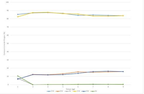 Grafico andamento della percentuale di metano in una prova di digestione anaerobica di acetato di sodio con reattori batch, realizzata a pressione quasi ambiente