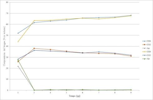 Grafico andamento della percentuale di metano in una prova di digestione anaerobica di cellulosa con reattori batch, realizzata a pressione quasi ambiente