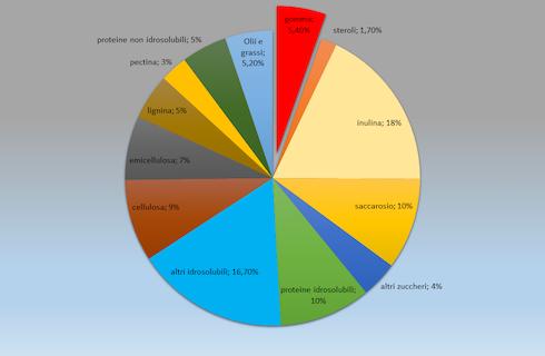 Grafico: La composizione media della radice di tarassaco russo, secondo Ramirez-Cadavid et al.