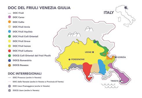 Mappa delle denominazioni Doc friulane