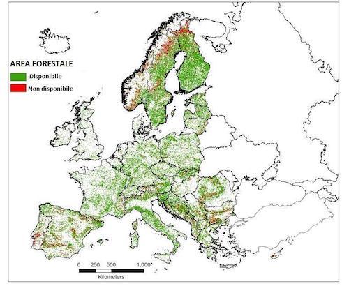 Mappa satellitare della copertura verde europea