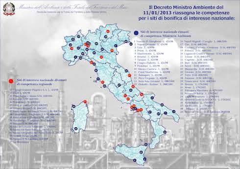 Mappa dei siti inquinati in Italia