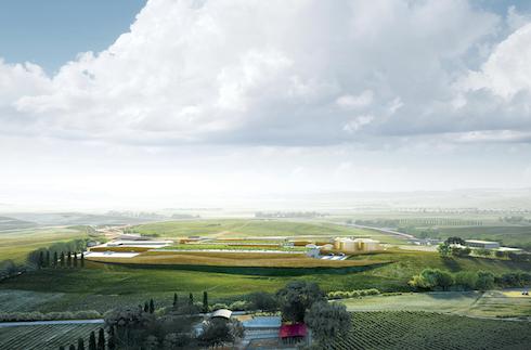 Rendering fotorealistico del progetto di riqualificazione della discarica ed integrazione nel paesaggio agricolo circostante