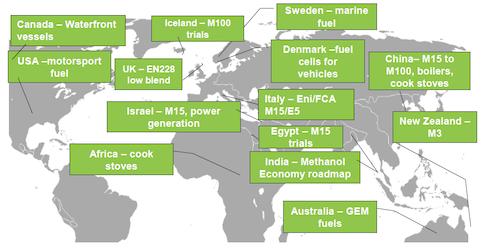Strategie d'utilizzo del metanolo nel mondo