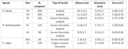 Tabella: Diametri all'altezza del petto, altezze e aree occupate, corredate dalle loro deviazioni standard, di campioni di singole canne di 'madake'e 'moso'in bambuseti giapponesi