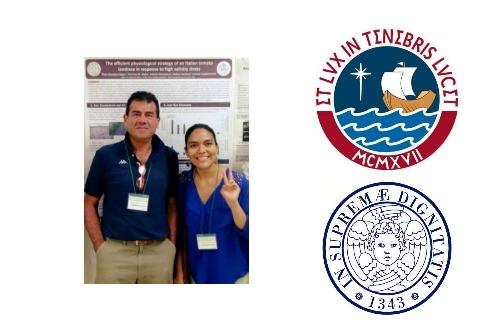 Lorenzo Guglielminetti con la collega peruviana Thais Huarrancca Reyes e i loghi delle rispettive Università