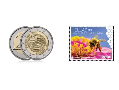 La moneta e il francobollo emessi per la prima Giornata mondiale delle api