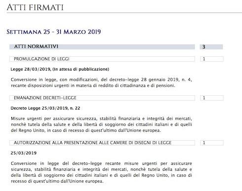 Sito del Quirinale: gli atti firmati dal presidente della Repubblica nella settimana dal 25 al 31 marzo 2019. Aggiornamento al 29 marzo 2019, ore 11.00