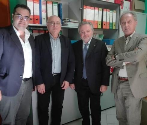 Da sinistra: il neo presidente campano Marco Todisco, il vice Angelo Frattolillo, Donato Rossi della giunta di Confagricoltura ed il presidente nazionale Aproniano Tassinari