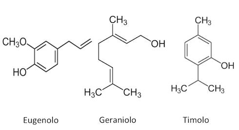 Le tre formule di struttura di eugenolo, geraniolo e timolo