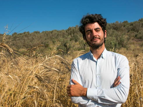 Stefano Caccavari, in uno dei campi di grano della varietà Senatore Cappelli
