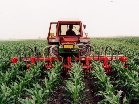 Macchina delle Officine Mingozzi che effettua pirodiserbo su mais
