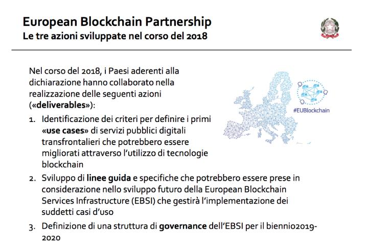 Europeanblockchainpartnership - Le tre azioni sviluppate nel corso del 2018