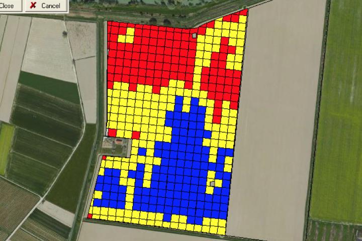 Un esempio di mappa di applicazione (o prescrizione). I 3 colori corrispondono ai diversi dosaggi di concime che si andranno a distribuire
