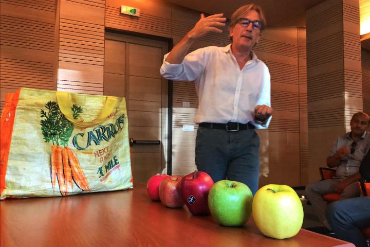 Luigi Cattivelli mostra alcune mele frutto del miglioramento genetico