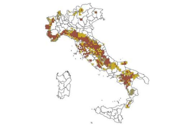 Cartina Italia - presenza del lupo nel 2015