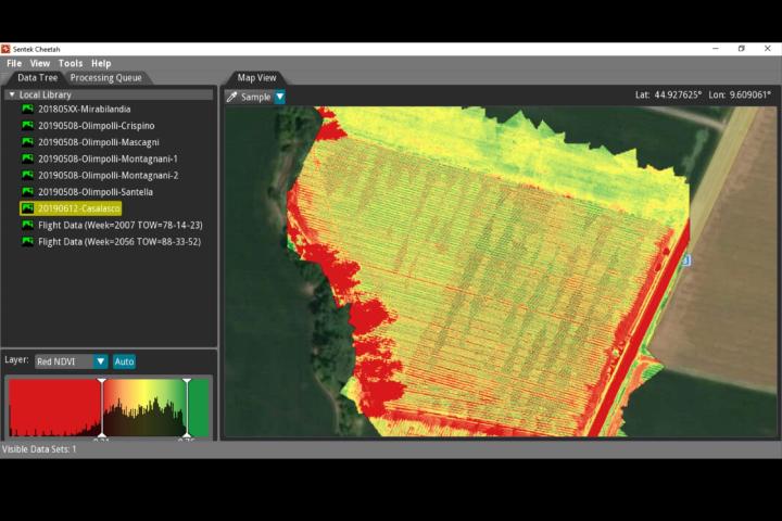 La mappa Ndviprodottacon i dati rilevati dal drone