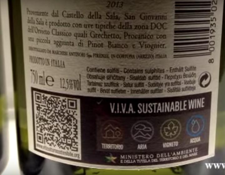 Una bottiglia di vino certificato Viva