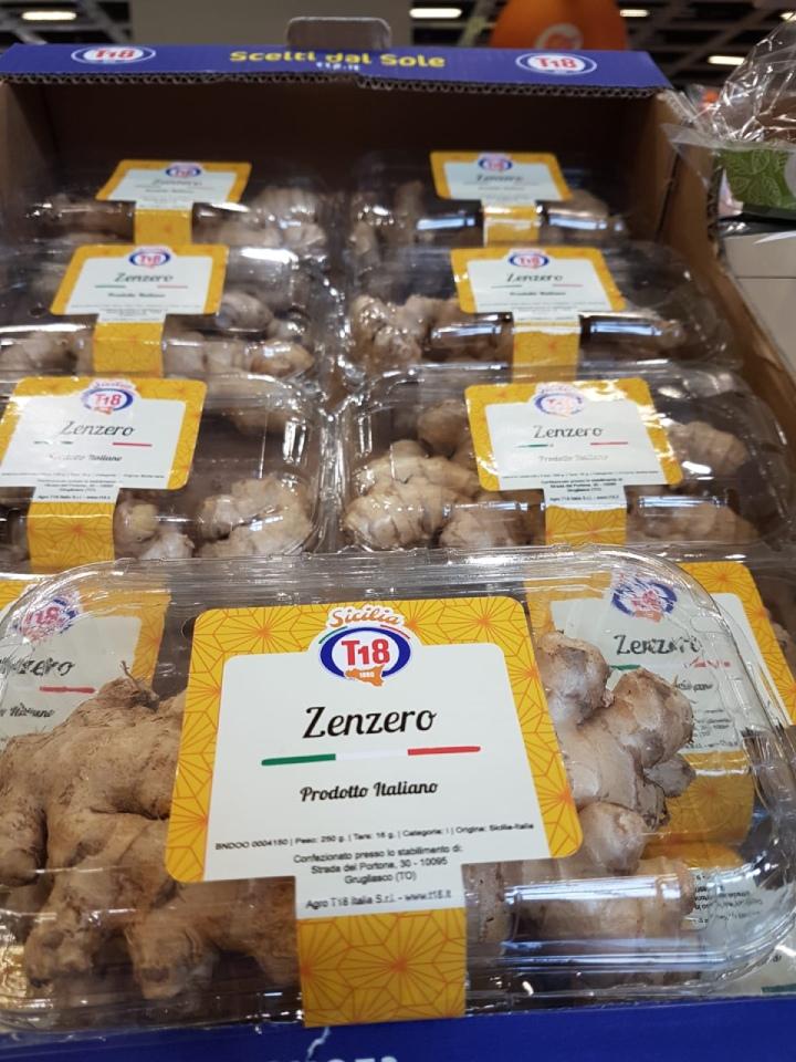 Zenzero pronto per essere venduto