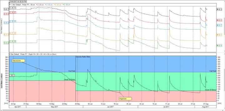 I grafici descrivono l'andamento dell'umidità nel terreno e sono ideali per pianificare le irrigazioni