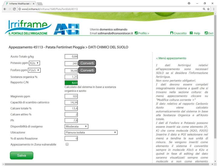 Una schermata del portale Fert-Irrinet