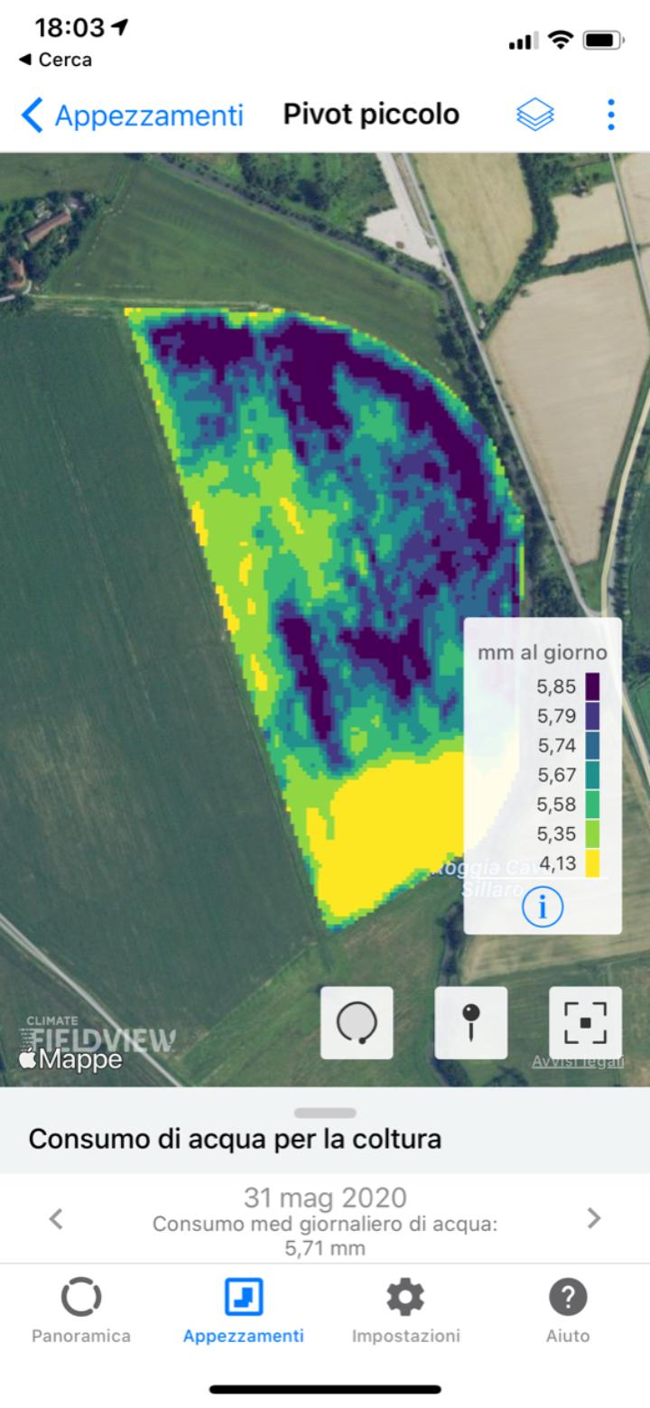Schermata del sistema Field view che fornisce dati sull'evapotraspirazione della coltura