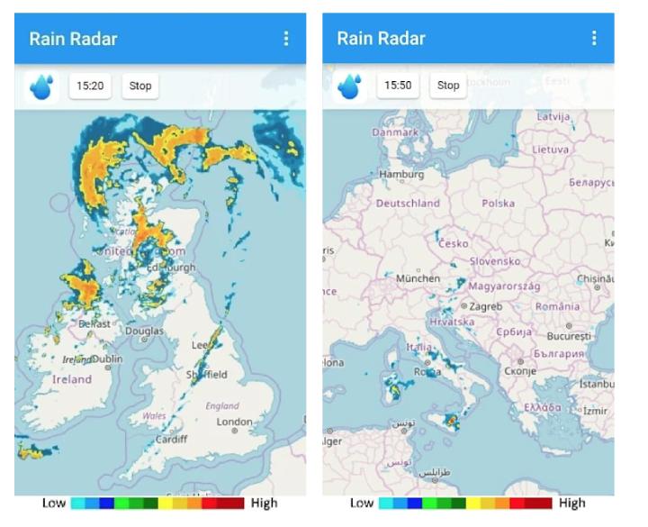 Una schermata di RainViewer