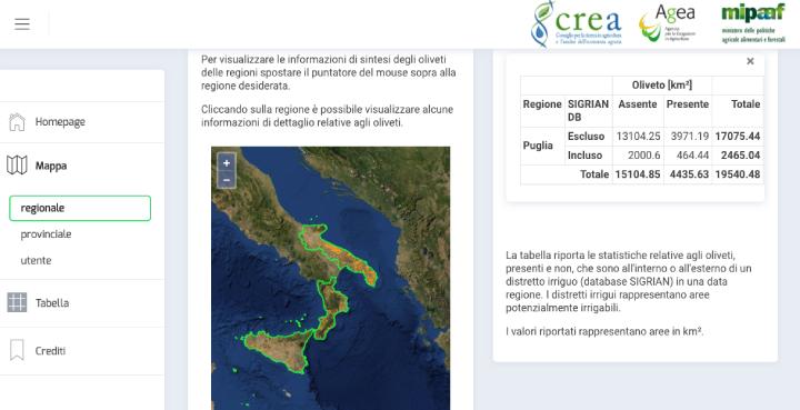 Una schermata del sito Olivemap