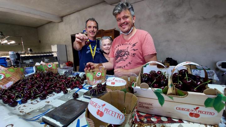 La famiglia Rosso. Da destra a sinistra: Alberto, Maria Teresa e Giuseppe