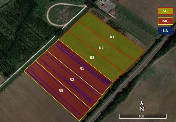 In verde chiaro le aree seminate con la guida parallela, in rosso quelle con la guida automatica. In azzurro le aree di campo non seminate