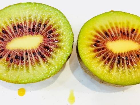 Frutti di kiwi a polpa rossa o bicolore della varietà HFR 18 prodotta dai Vivai F.lli Zanzi